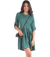 vestido adrissa verde manga 3/4 con bolero recogido en la parte de la falda