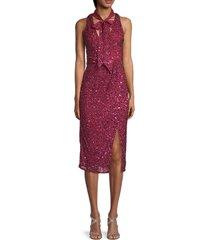 parker women's sia sequin sheath dress - pink - size 0