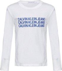 camiseta ckj ml triple logo - branco - 6