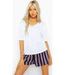 tall gestreepte pyjama set t-shirt met v-hals en shorts, navy