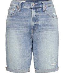 9'' high rise destructed denim bermuda shorts with washwell shorts denim shorts blå gap