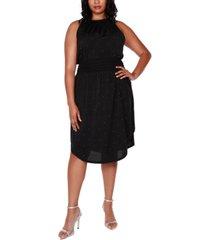 belldini black label plus size embellished halter dress with smocked waist
