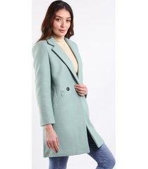abrigo verde menta para dama con bolsillos laterales