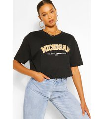 oversized michigan slogan boyfriend t-shirt, black