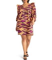 plus size women's eloquii print ruffle puff sleeve shift dress, size 22w - orange