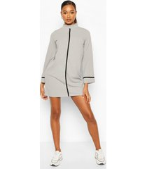funnel neck swing dress with contrast tape, grey
