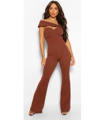 aysmetric cut out wide leg jumpsuit, chocolate