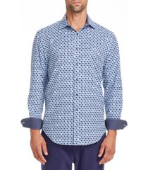tallia men's slim fit performance stretch blue/brown houndstooth long sleeve shirt and a free face mask with purchase