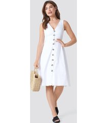 trendyol button detailed v-neck midi dress - white