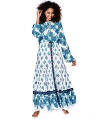mc2 saint barth light blue flower gipsy print long skirt