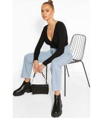 skinny rib wrap long sleeve knitted top, black