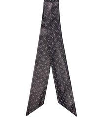 saint laurent black studded leather scarf