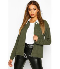 borg collar oversized jean jacket, khaki