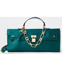 river island womens green satin padlock crossbody bag
