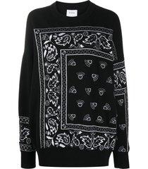 barrie bandana paisley cashmere jumper - black