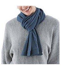 100% alpaca scarf, 'antique blue allure' (peru)