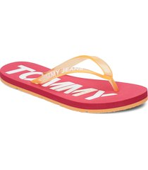 pop color beach sand shoes summer shoes flip flops rosa tommy hilfiger