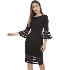 vestido calvin klein scuba crepe negro - calce ajustado