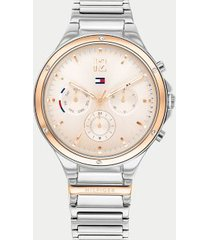 tommy hilfiger women's stainless steel bracelet watch wi sub-dials silver/light rose gold -