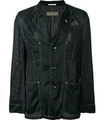 comme des garçons pre-owned inside-out mesh blazer - black