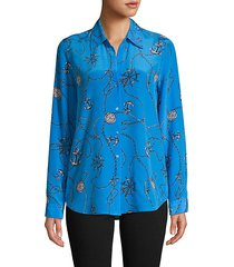 nautical-print silk shirt