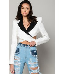 akira don't tempt me cropped blazer with boxy shoulders