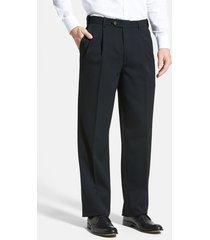 men's berle self sizer waist pleated classic fit wool gabardine dress pants, size 40 x unhemmed - black