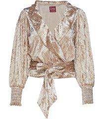 chanda velvet blouse lange mouwen beige line of oslo