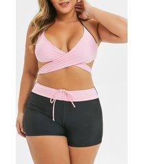 plus size halter criss cross wrap bikini set