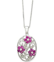 "certified ruby (1-1/2 ct. t.w.) & diamond (1/8 ct. t.w.) flower 18"" pendant necklace in sterling silver"