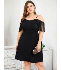 plus tamaño detalles de flecos negros hombro frío vestido