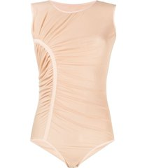 loulou ruched mesh bodysuit - neutrals