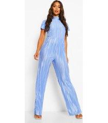 plisse wide leg jumpsuit met hoge hals, blue