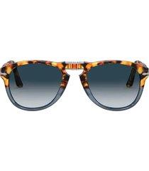 persol persol po0714 brown tortoise & opal blue sunglasses