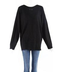 barbara bui black wool knit back button sweater black sz: l