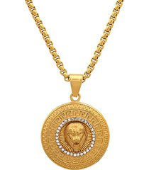 18k goldplated stainless steel & simulated diamond regal lion head pendant necklace