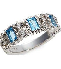 sterling silver, white & blue topaz ring