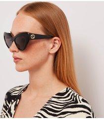 gucci women's gg cat eye acetate sunglasses - black/black/grey