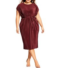 plus size women's city chic pleated midi dress