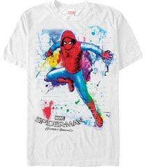marvel men's spider-man homecoming neon painted brick wall pose short sleeve t-shirt