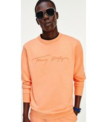 tommy hilfiger men's organic cotton signature sweatshirt summer sunset - l