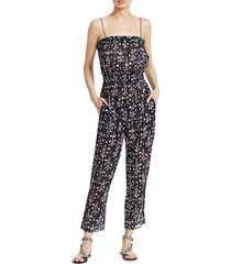 isabel marant women's timea print sleeveless jumpsuit - dark midnight - size 44 (12)