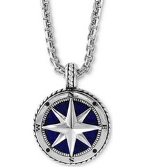 """effy men's lapis lazuli (14-1/2mm) compass 22"""" pendant necklace in sterling silver"""