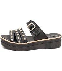 sandalia de cuero negra valentia calzados malena