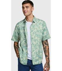 camisa jack & jones verde - calce regular
