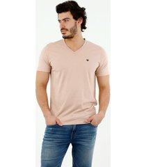 camiseta de hombre, cuello en v, manga corta, color rosado