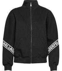 logo tape zip-up sweatshirt sweat-shirt tröja svart karl lagerfeld