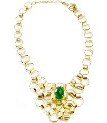 maxi colar    semijoia banho de ouro 18k quartzo verde ao centro - tricae