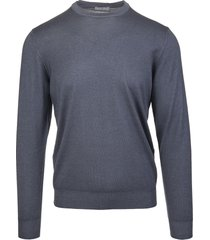 fedeli man round neck pullover in anthracite worsted wool