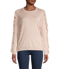 calvin klein women's crewneck ruffled sweater - blush - size xs